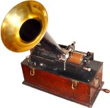 Tidig fonograf: By Norman Bruderhofer, www.cylinder.de - own work (transferred from de:File:Phonograph.jpg), CC BY-SA 3.0, https://commons.wikimedia.org/w/index.php?curid=427395